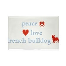 Peace, Love & French Bulldogs Rectangle Magnet