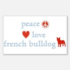 Peace, Love & French Bulldogs Sticker (Rectangle)