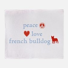 Peace, Love & French Bulldogs Throw Blanket
