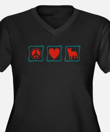 Peace, Love, French Bulldogs Women's Plus Size V-N