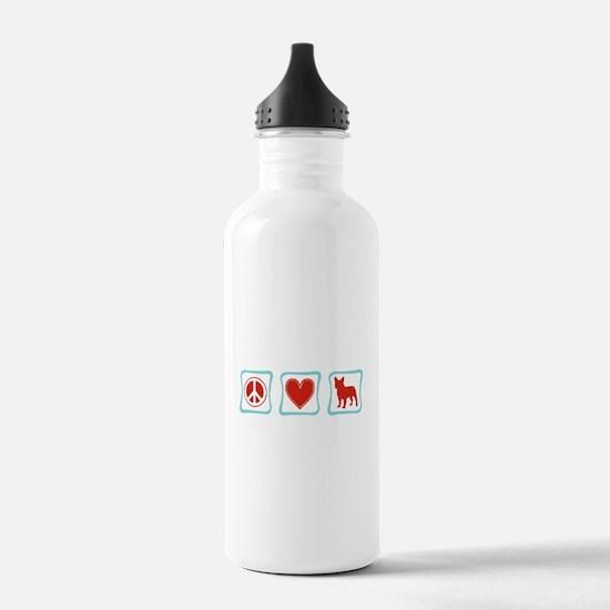 Peace, Love, French Bulldogs Water Bottle