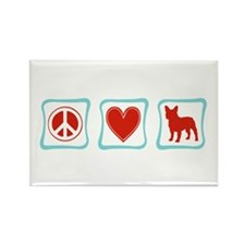 Peace, Love, French Bulldogs Rectangle Magnet