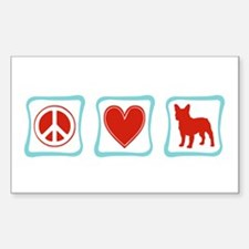 Peace, Love, French Bulldogs Sticker (Rectangle)