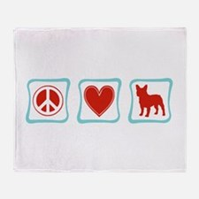 Peace, Love, French Bulldogs Throw Blanket
