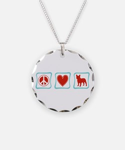 Peace, Love, French Bulldogs Necklace Circle Charm