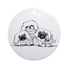 3 Pekingese Puppies Ornament (Round)