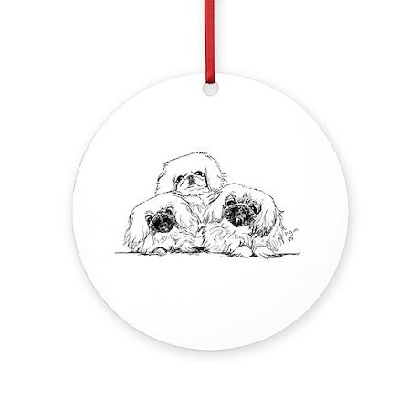 3 Pekingese Puppies Ornament (Round)