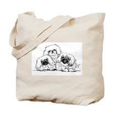 3 Pekingese Puppies Tote Bag