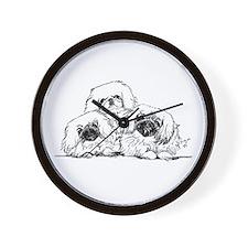 3 Pekingese Puppies Wall Clock