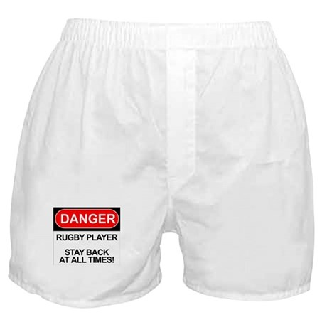 """Danger Rugby Player"" Boxer Shorts"
