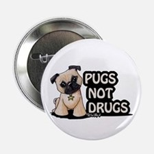 """Pugs Not Drugs 2.25"""" Button"""