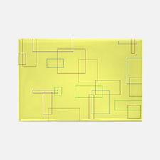 Yellow Retro Rectangle Magnet