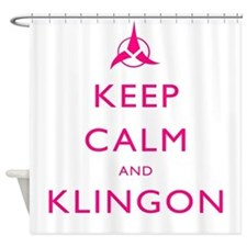 Keep Calm and Klingon Pink Shower Curtain