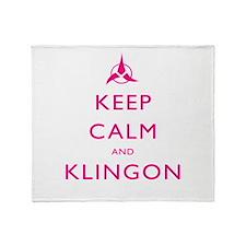 Keep Calm and Klingon Pink Throw Blanket