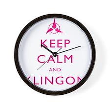 Keep Calm and Klingon Pink Wall Clock