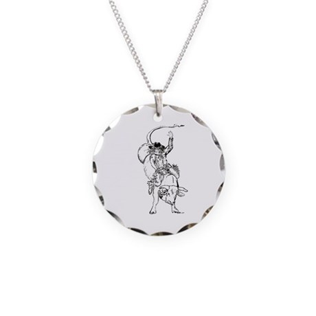 Bull rider Necklace Circle Charm