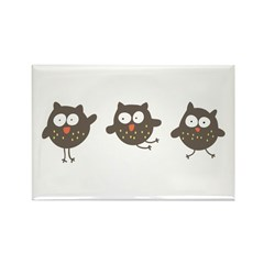 Silly Owls Rectangle Magnet (10 pack)