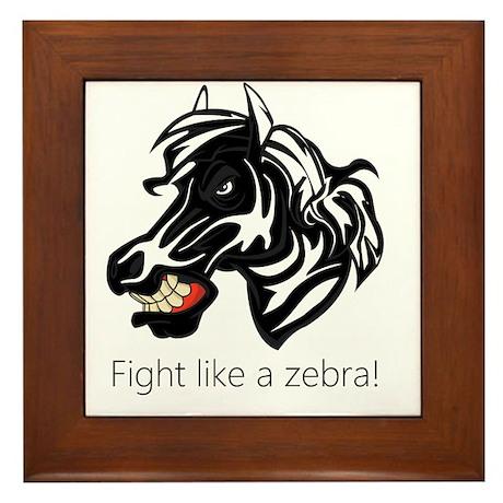 Fight Like a Zebra Framed Tile