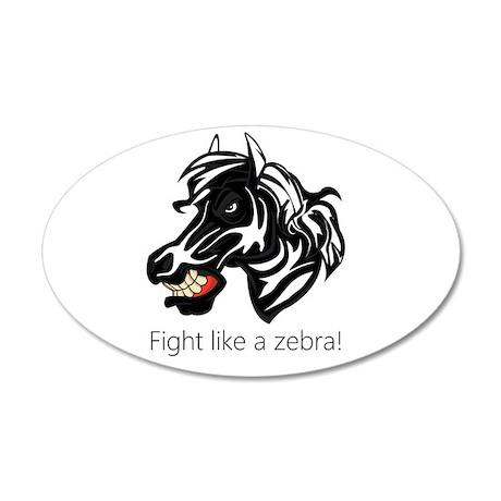 Fight Like a Zebra 38.5 x 24.5 Oval Wall Peel