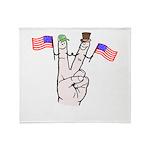 Happy Peace Fingers Throw Blanket