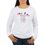 Happy Peace Fingers Women's Long Sleeve T-Shirt