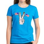 Happy Peace Fingers Women's Dark T-Shirt