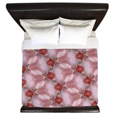Dusty Pink Ripples And Leaves King Duvet