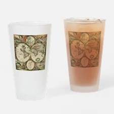 Vintage Map Drinking Glass