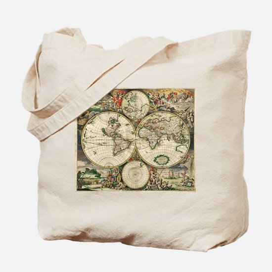 Vintage Map Tote Bag