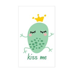 Kiss Me Frog Sticker (Rectangle)