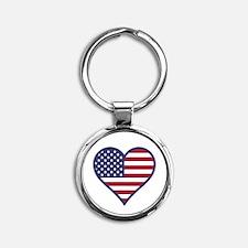 American Flag Heart Keychains