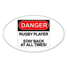 """Danger Rugby Player"" Oval Decal"