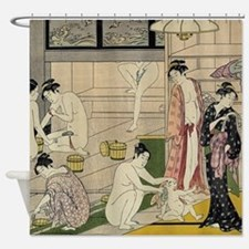 Torii Kiyonaga bathhouse women Shower Curtain