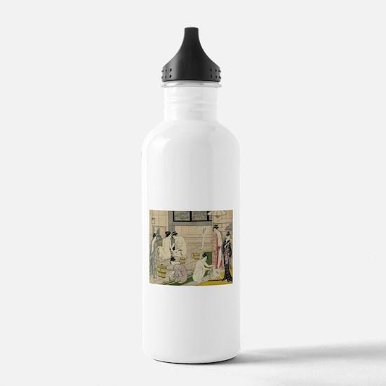 Torii Kiyonaga bathhouse women Sports Water Bottle