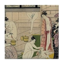 Torii Kiyonaga bathhouse women Tile Coaster