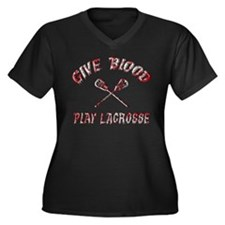 Give Blood Play Lacrosse Women's Plus Size V-Neck