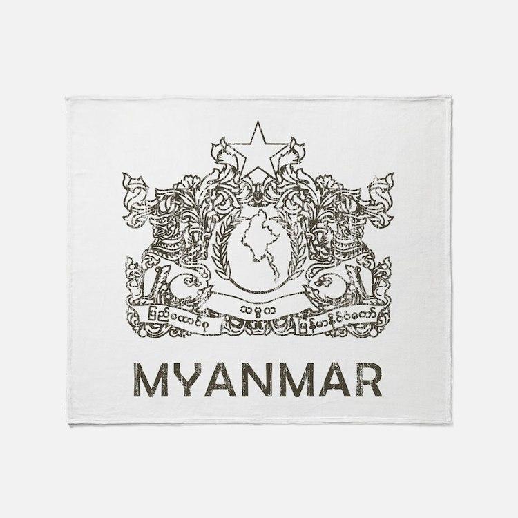 Vintage Myanmar Throw Blanket