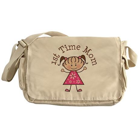 1st Time Mom Stick Figure Messenger Bag