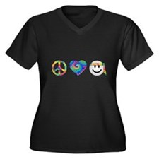 Cute Signing Women's Plus Size V-Neck Dark T-Shirt