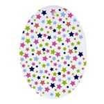 Colorful Star Pattern Ornament (Oval)