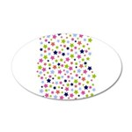 Colorful Star Pattern 38.5 x 24.5 Oval Wall Peel