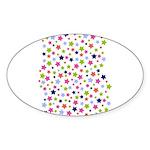 Colorful Star Pattern Sticker (Oval)