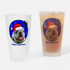 SANTA PAWS Bulldog Drinking Glass