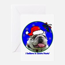 SANTA PAWS Bulldog Greeting Card