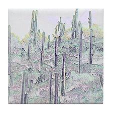 Many Saguaros Recreated Tile Coaster