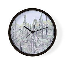 Many Saguaros Recreated Wall Clock