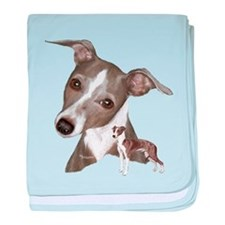 Italian Greyhound art baby blanket