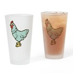 Polka Dot Rooster Drinking Glass