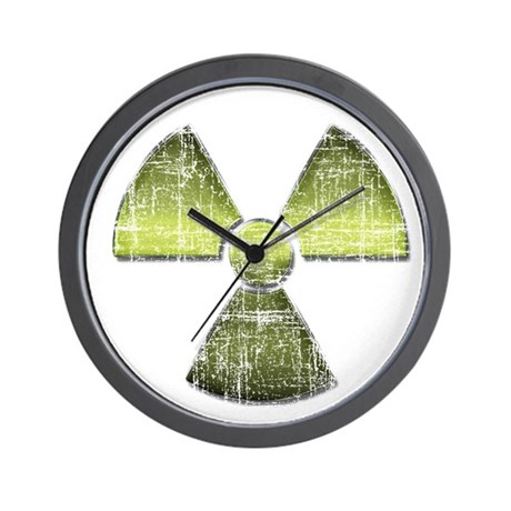 Vintage Radioactive Symbol 3 Wall Clock