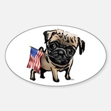 4th of July Pug Oval Decal